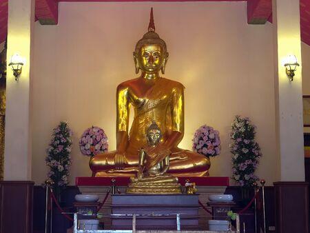 the luang phor dam buddha at wat saket in bangkok, thailand