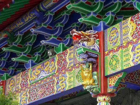 carved beam with dragon head at po lin monastery, hong kong