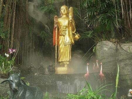 buddha statue amongst mist at golden mount in bangkok, thailand