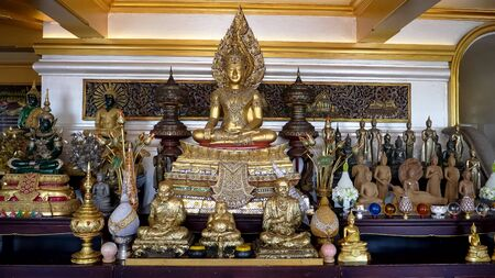 a seated buddha statue at golden mount in bangkok 写真素材