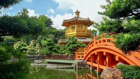 bridge and pavillion at nan lian garden in hong kong Stock fotó