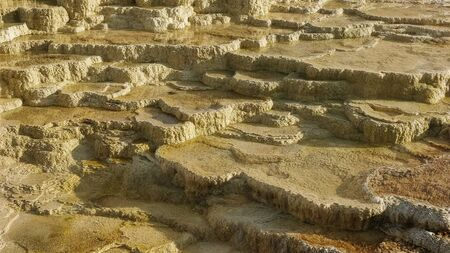 close up of mineral terraces at mammoth in yellowstone 写真素材 - 129926720