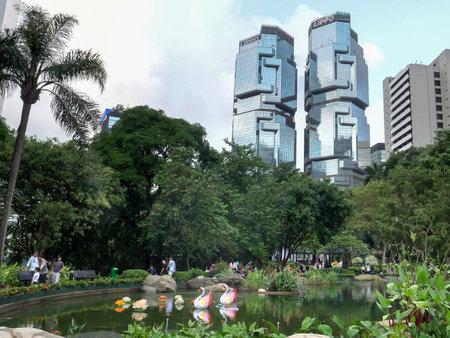 HONG KONG, CHINA- OCTOBER, 1, 2017: the botanic gardens and lippo buildings in hong kong