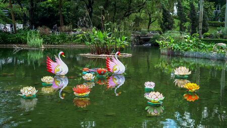 decorations on a pond in the botanic gardens in hong kong