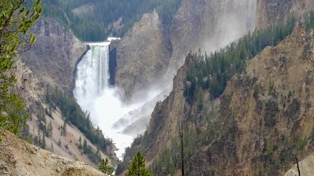 afternoon close up of lower falls from artist point in yellowstone