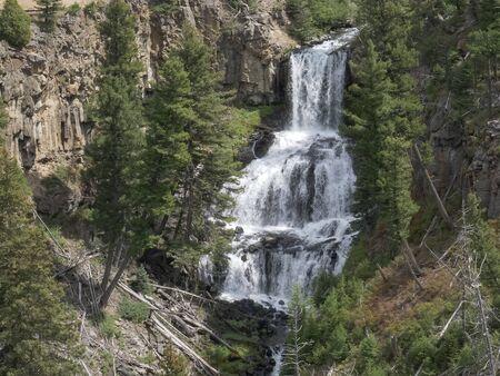 close shot of undine falls in yellowstone