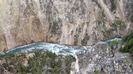 overhead view of yellowstone river from lookout point in yellowstone 写真素材