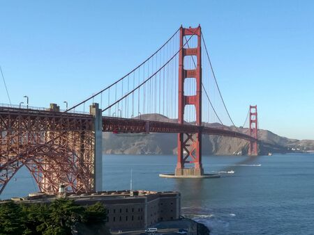 afternoon shot of golden gate bridge from marine drive in san francisco 免版税图像