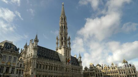BRUSSELS, BELGIUM - OCTOBER, 13, 2017: hotel de ville in grand place, brussels Editorial