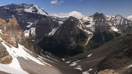 view of paradise valley from sentinel pass in banff national park