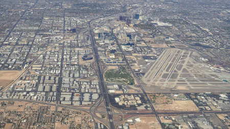 aerial view of the airport and strip in las vegas