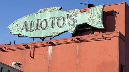 SAN FRANCISCO, CA, USA- FEBRUARY, 17, 2020: aliotos fish shaped sign at fishermans wharf