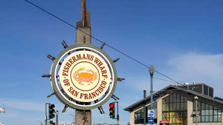 SAN FRANCISCO, CA, USA- FEBRUARY, 17, 2020: close up of the fishermans wharf sign