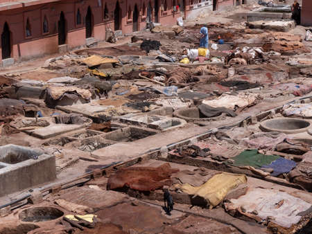 high shot of one of the ancient tanneries in marrakesh