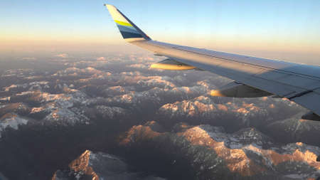 aerial view of the cascade mountains on a winters day in washington state