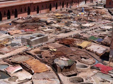 high angle shot of leather drying at one of the ancient tanneries in marrakesh