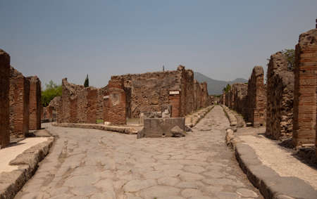 NAPLES, ITALY- JUNE, 13, 2019: a view of a street intersection in the ancient city of pompeii