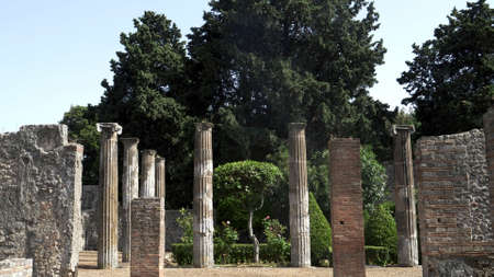 NAPLES, ITALY- JUNE, 13, 2019: columns of the ruins of a temple at pompeii 新闻类图片