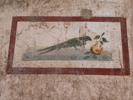 NAPLES, ITALY- JUNE, 13, 2019: fresco painting of a bird on a house wall at pompeii 新闻类图片