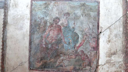 NAPLES, ITALY- JUNE, 13, 2019: shot of a wall painting at pompeii 新闻类图片