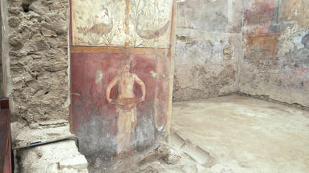 NAPLES, ITALY- JUNE, 13, 2019: fresco of a servant holding a serving dish on a wall at pompeii 新闻类图片