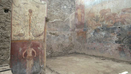 NAPLES, ITALY- JUNE, 13, 2019: the interior of the house of ceii at pompeii