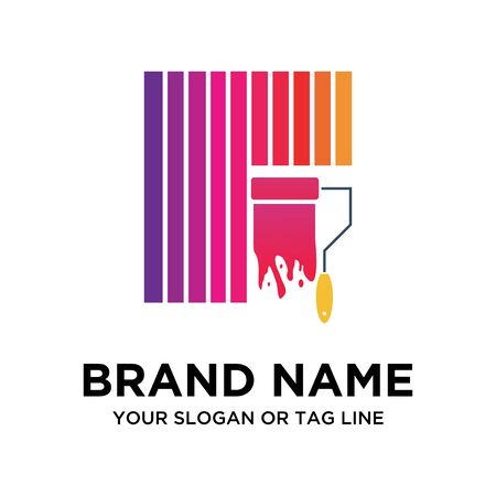 full color vector business paint logo Ilustracja