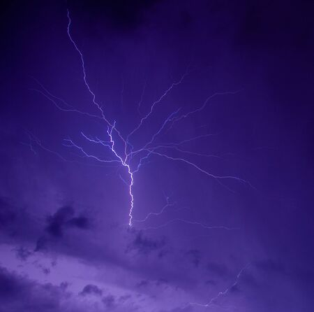 Storm with lightning in night  sky photo
