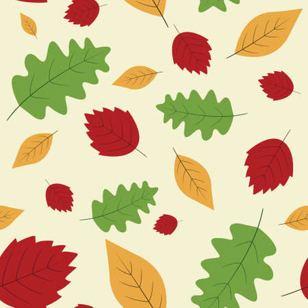 colorful autumn seamless pattern with bright red, green and yellow leaves scattered on light cream background Ilustración de vector