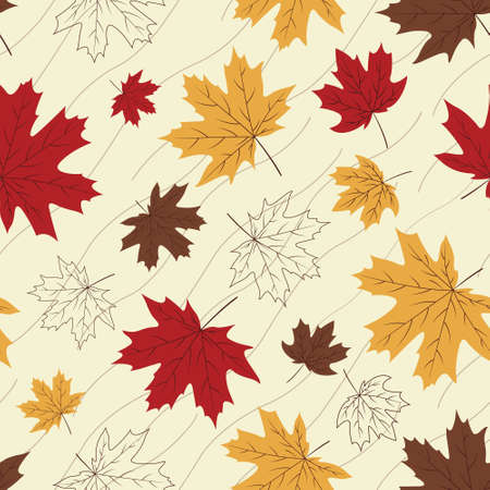 vibrant fall seamless pattern with bright yellow, brown and red maple leaves scattered on light cream background with wavy stripes Vettoriali