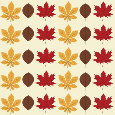 vibrant autumn seamless pattern with bright yellow chestnut, brown poplar and red maple leaves lined on light cream background