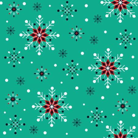 Vintage christmas pattern with bright snowflakes