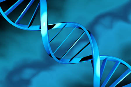researchs: DNA double helix on a blue background