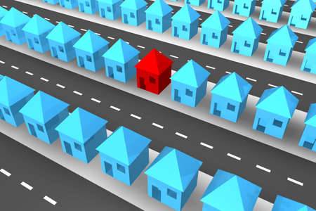neighbour: Lines of blue 3d houses with one red house