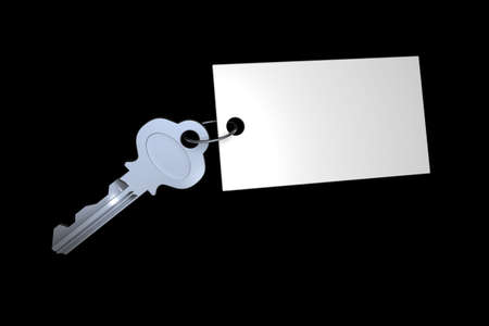 3d key attached to blank white tag Stock Photo - 518345