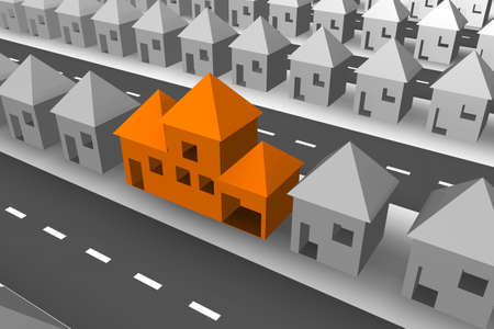 neighbour: Rows of grey 3d houses with one large orange house