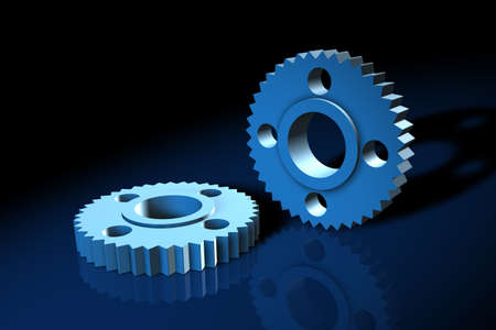 idler: Blue 3d gears on a reflective blue surface Stock Photo