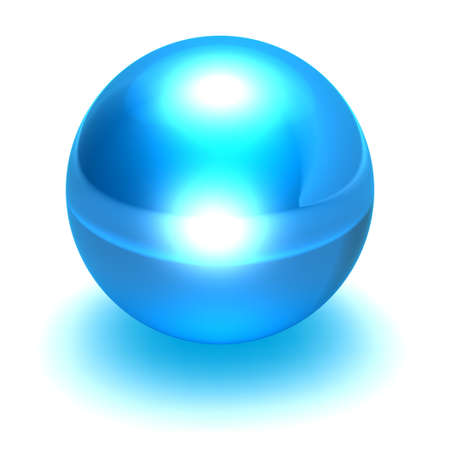 neutron: Isolated glass like blue sphere Stock Photo