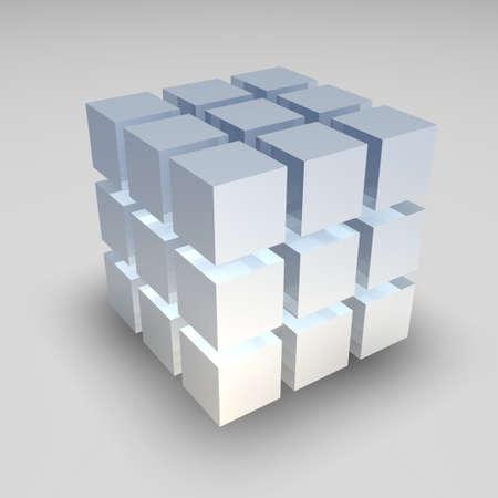 smaller: Big cube broken down into smaller cubes
