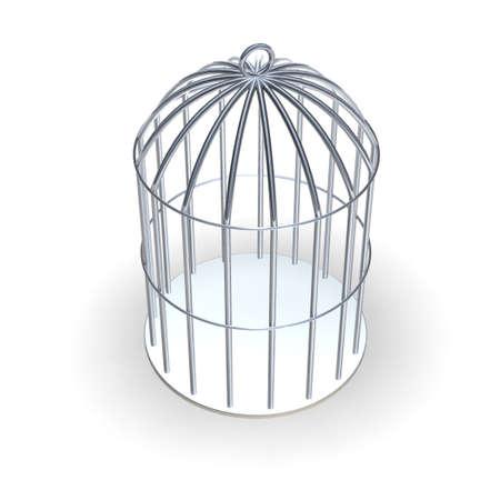 Shiny metallic 3d rendered cage Stock Photo - 520139