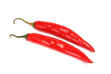 tex mex: Red hot chillies on white Stock Photo