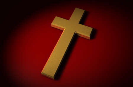 to confess love: Golden 3d christian cross on a red background