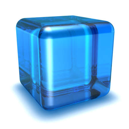 depth: 3d blue cube on a white background