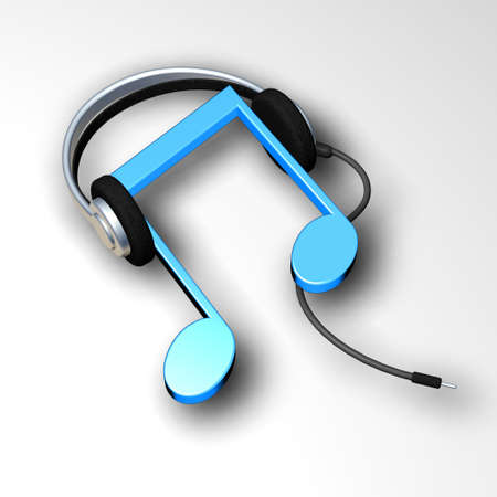 listen to music: Music symbol wearing black headphones Stock Photo