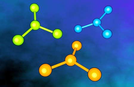 chemic: Elementare forme su sfondo blu