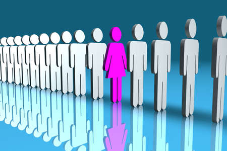 male dominated: Line of male 3d figures with one pink female figure in the middle
