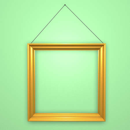 borderline: Old style picture frame hanging on green wall Stock Photo