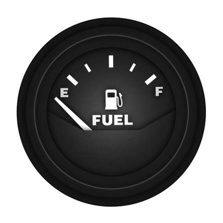 empty fuel gauge on white background photo
