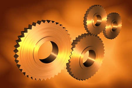 activate: 3d cogs with metallic texture Stock Photo