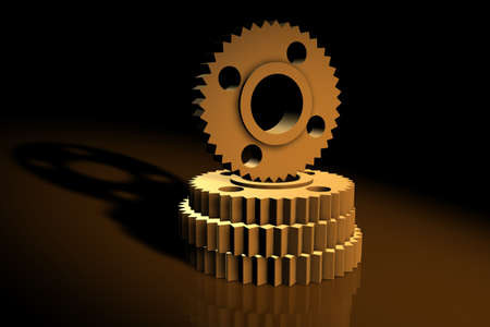 gearings: 3d cogs with metallic texture Stock Photo
